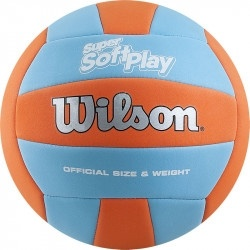 Мяч волейбольный WILSON Super Soft Play, р.5, 18 пан, синт.кожа TPE, маш.сш, оранж-бирюз. фото 1